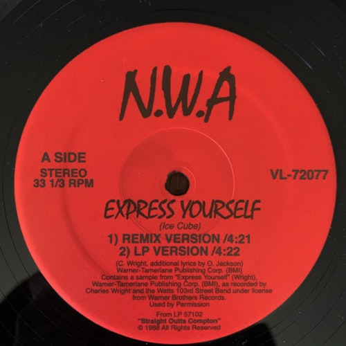 N.W.A. Express Yourself / Straight Outta Compton (USA unofficial reissue) (VG+) 12""