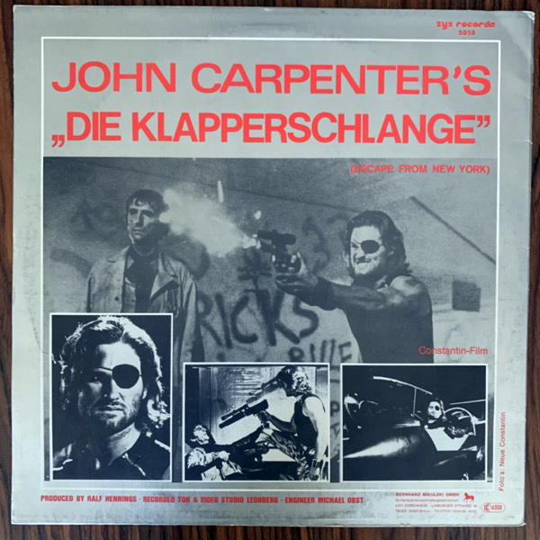SOUNDTRACK The Splash Band / John Carpenter‎– Die Klapperschlange (Escape From New York) (ZYX - Germany original) (VG+/EX) 12""