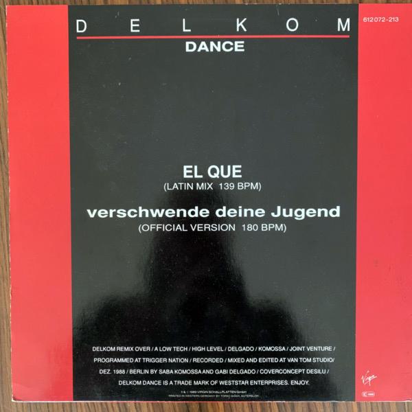 """DAF (Deutsch Amerikanische Freundschaft) Verschwende Deine Jugend (Virgin - Germany original) (VG+) 12"""""""