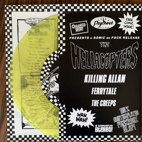 """HELLACOPTERS, the Killing Allan (Yellow vinyl) (No label - Sweden reissue) (EX) 7"""""""