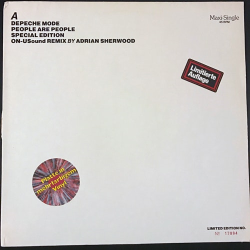 DEPECHE MODE People Are People (Special Edition ON-USound Remix By Adrian Sherwood) (Splatter vinyl) (Mute - Germany original) (VG/VG+) 12""