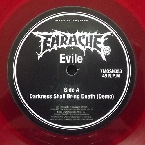 EVILE Darkness Shall Bring Death (Red vinyl) (Earache - UK original) (EX) 7""