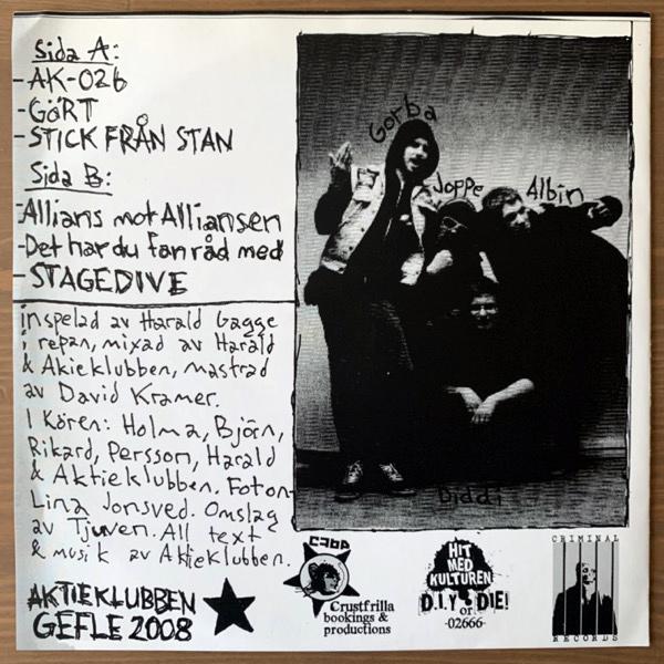 "AKTIEKLUBBEN A.K. 026 (Hit Med Kulturen - Sweden original) (EX) 7"""