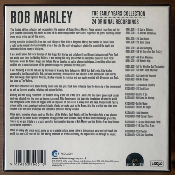 """BOB MARLEY The Early Years Collection (24 Original Recordings) (Green, gold, red vinyl) (Delta - Europe original) (NM) 12x7"""" BOX"""