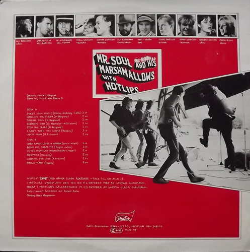 MR SOUL AND HIS MARSHMALLOWS WITH HOTLIPS AND SOUL SISTERS The Soul Sessions Live (Mistlur - Sweden original) (VG+) LP