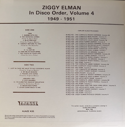 ZIGGY ELMAN In Disco Order Volume 4 1949-1951 (Ajazz - USA original) (EX) LP