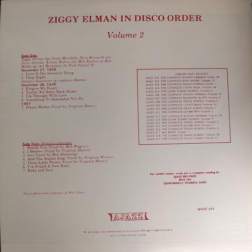 ZIGGY ELMAN In Disco Order Volume 2 (Ajazz - USA original) (EX) LP