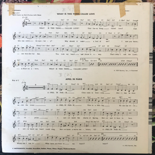 MUSIC MINUS ONE Volume 1 - A Rhythm Background Record For Any Musician Or Vocalist (Music Minus One - USA original) (VG-) LP