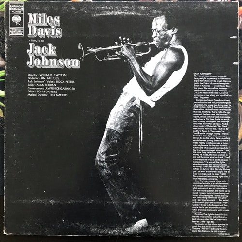 MILES DAVIS A Tribute To Jack Johnson (CBS - Canada reissue) (VG/VG-) LP