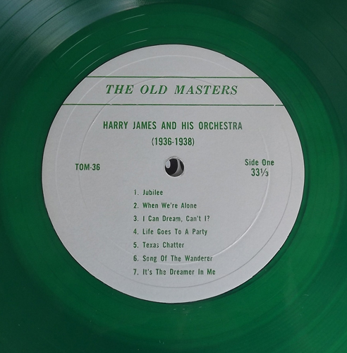 HARRY JAMES AND HIS ORCHESTRA 1936-1938 (Green vinyl) (The Old Masters - Germany original) (EX) LP