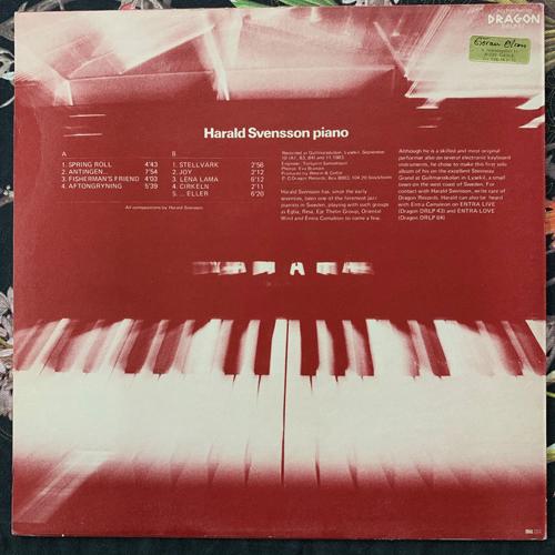 HARALD SVENSSON Piano (Dragon - Sweden original) (VG+/NM) LP