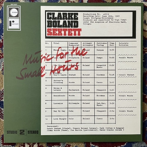 CLARKE BOLAND SEXTETT Music For The Small Hours (Rearward - Italy reissue) (EX) LP