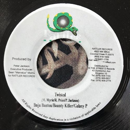 "BUJU BANTON, BOUNTY KILLER, GALAXY P Twisted (Rattler - Jamaica original) (VG+) 7"""