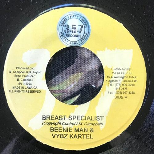 """BEENIE MAN & VYBZ KARTEL Breast Specialist (357 - Jamaica original) (VG+) 7"""""""