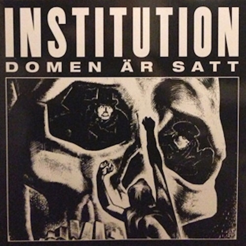 "INSTITUTION Domen Är Satt (Repress, red vinyl) (NM) 12"" EP"