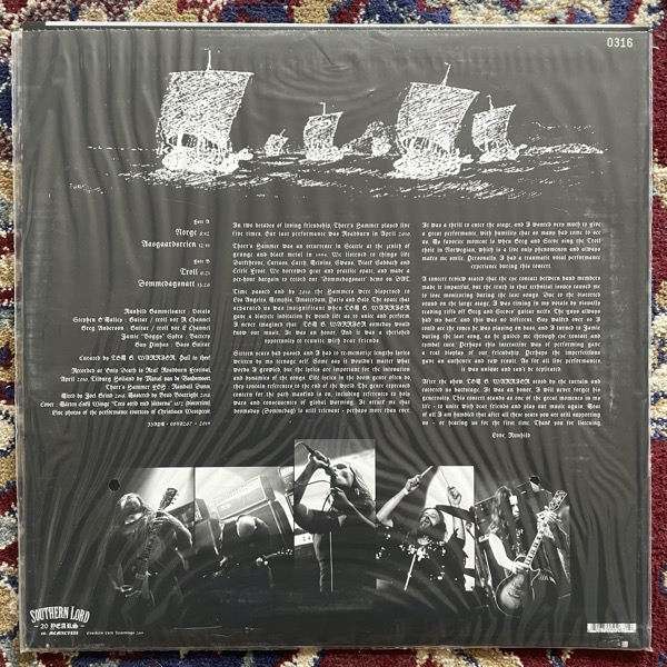 THORR'S HAMMER Live By Command Of Tom G. Warrior, Only Death Is Real - 16 April 2010 Roadburn, Netherlands (Silver vinyl) (Southern Lord - USA original) (NM) LP