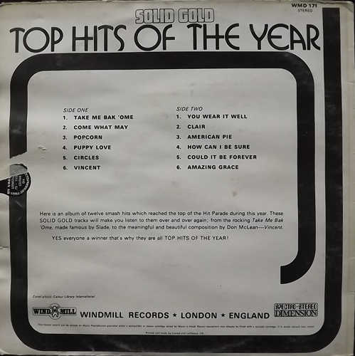 UNKNOWN ARTIST Top Hits Of The Year (Windmill - UK original) (G/VG+) LP