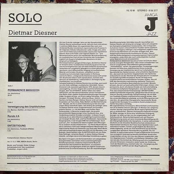 DIETMAR DIESNER Solo (AMIGA - Germany original) (VG/VG+) LP