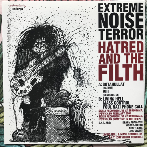 """EXTREME NOISE TERROR Hatred And The Filth (Red vinyl) (Distortion - Sweden original) (NM/EX) 7"""""""