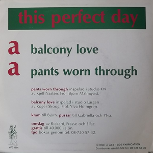 """THIS PERFECT DAY Balcony Love (A West Side Fabrication - Sweden original) (VG) 7"""""""