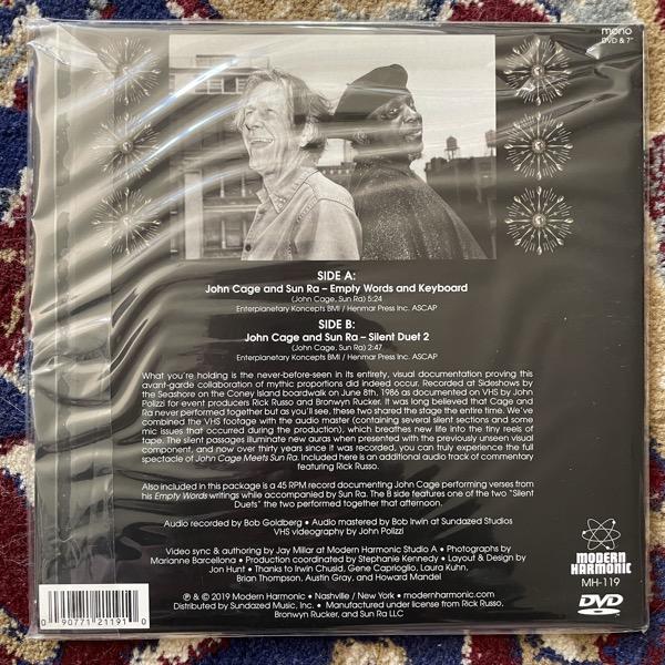 "JOHN CAGE MEETS SUN RA John Cage Meets Sun Ra (Clear vinyl) (Modern Harmonics - USA original) (NM) 7""+DVD"