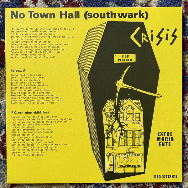 """CRISIS No Town Hall (Yellow vinyl) (Extremocidente - Portugal reissue) (NM) 7"""""""