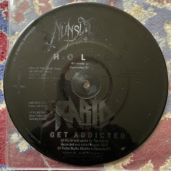 "NUNSLAUGHTER / RABID Holier / Get Addicted (Hells Headbangers - USA original) (EX) PIC 7"""
