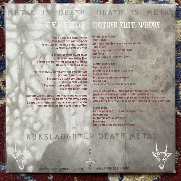 "NUNSLAUGHTER Cerebus (Hells Headbangers - USA reissue) (EX) PIC 7"""