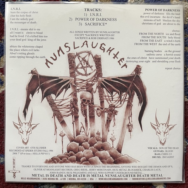 "NUNSLAUGHTER / BLOODSICK Split (Hells Headbangers - USA reissue) (EX) PIC 7""P"