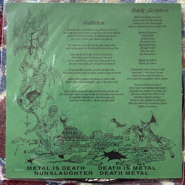 "NUNSLAUGHTER Christmassacre (Hells Headbangers - USA reissue) (EX) PIC 7"""