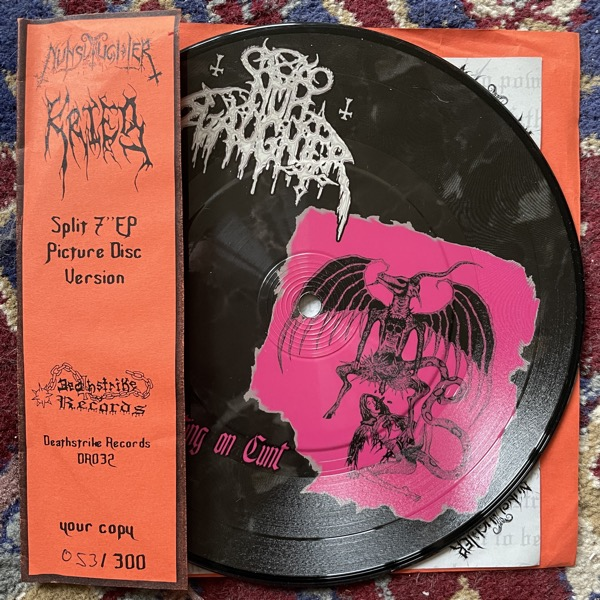 "NUNSLAUGHTER / KRIEG Satan Shitting On Cunt / Flesh Descending (Deathstrike - Germany original) (VG+) PIC 7"""