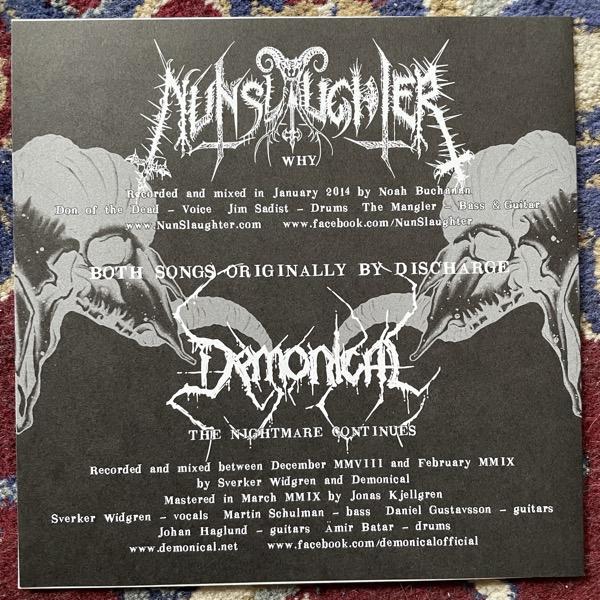 "NUNSLAUGHTER / DEMONICAL Deathcharge (No label - USA original) (NM/EX) 7"""