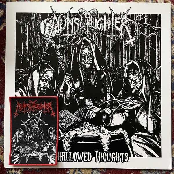 NUNSLAUGHTER Unhallowed Thoughts (Clear vinyl, with patch) (Turanian Honour - Hungary original) (EX/NM) LATHE CUT LP
