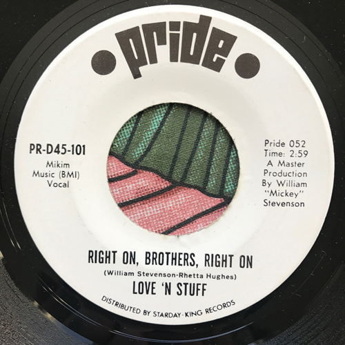 """LOVE 'N STUFF Right On, Brothers, Right On (Pride - USA original) (VG+) 7"""""""