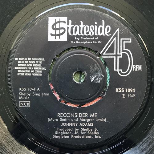 "JOHNNY ADAMS Reconsider Me (Stateside - Sweden original) (VG) 7"""