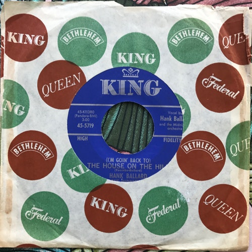 """HANK BALLARD AND THE MIDNIGHTERS (I'm Goin' Back To) The House On The Hill (King - USA origina) (VG-/VG+) 7"""""""