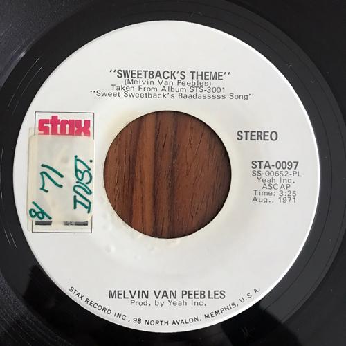 "MELVIN VAN PEEBLES Sweetback's Theme (Promo) (Stax - USA original) (VG+) 7"""