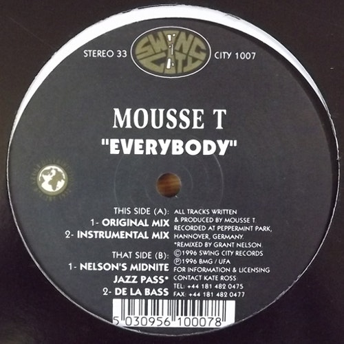 "MOUSSE T Everybody (Swing City - UK original) (EX) 12"" EP"