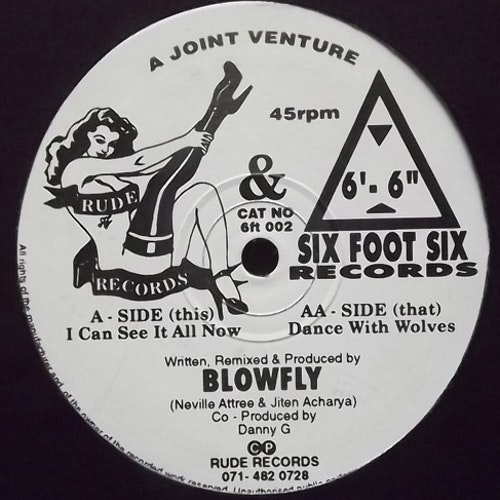 """BLOWFLY (UK) I Can See It All Now (Six Foot Six - UK original) (VG+) 12"""" EP"""