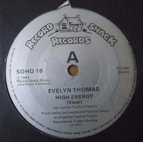 "EVELYN THOMAS High Energy (Record Shack - UK original) (VG+) 7"""