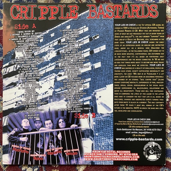 CRIPPLE BASTARDS Your Lies In Check (Splatter vinyl) (Haunted Hotel - USA reissue) (EX) LP