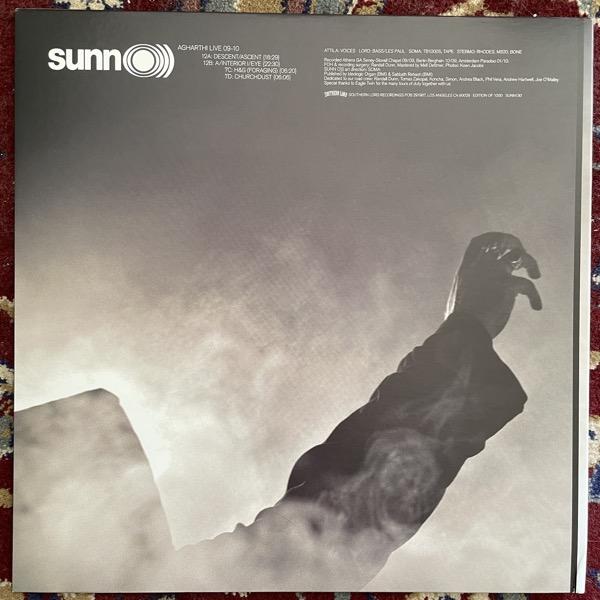 "SUNN O))) Agharti Live 09-10 (Greay/black splatter vinyl. With slipmat) (Southern Lord - USA original) (VG+) LP+7"""