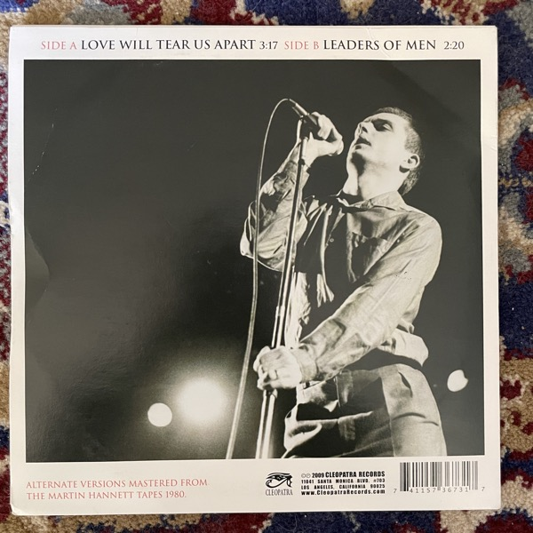 "JOY DIVISION Love Will Tear Us Apart (White vinyl) (Cleopatra - USA reissue) (VG+) 7"""