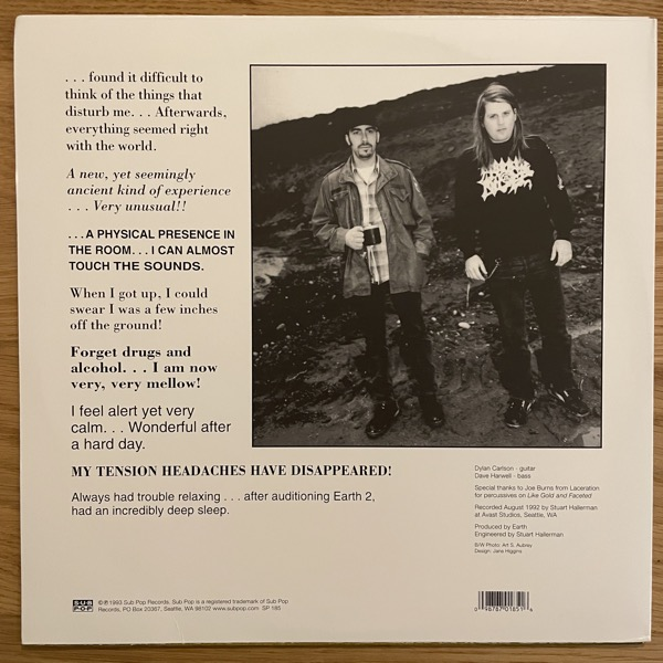 EARTH Earth 2 - Special Low Frequency Version (Sub Pop - USA 2006 reissue) (EX) 2LP