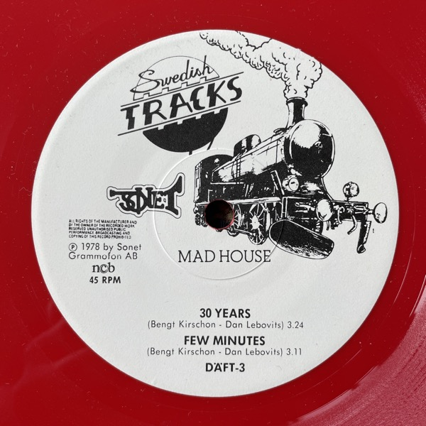 "MADHOUSE 30 Years (Red vinyl) (Sonet - Sweden original) (VG+) 7"""