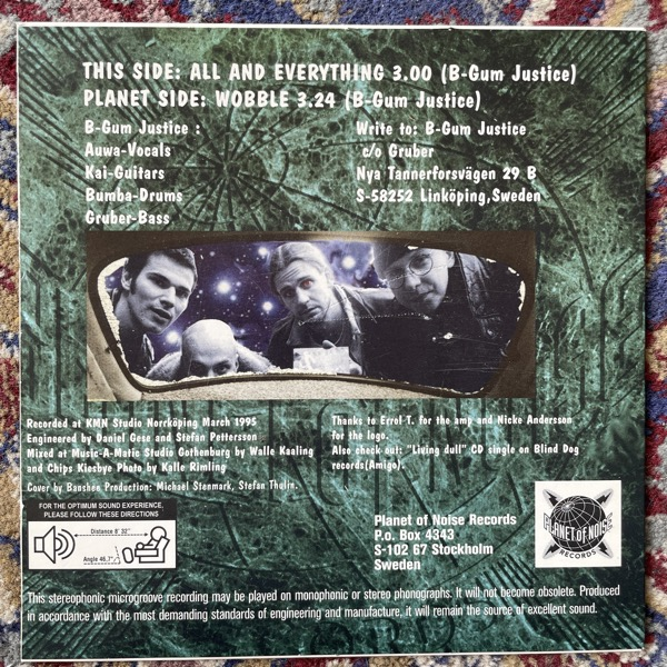 """B-GUM JUSTICE All And Everything (Planet of Noise - Sweden original) (EX) 7"""""""