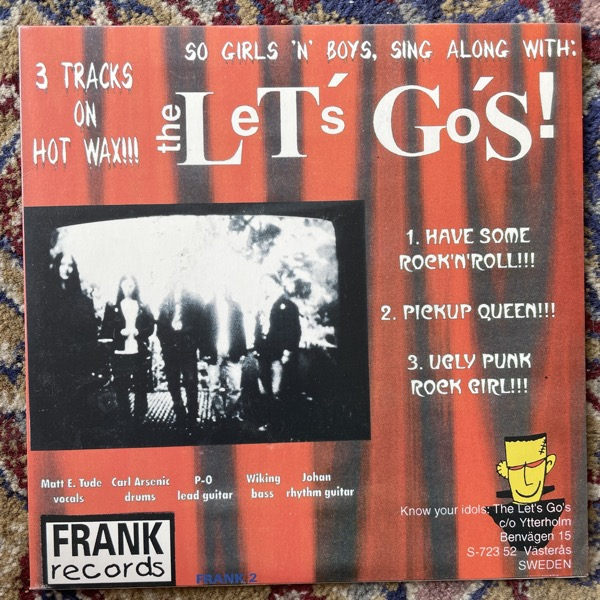"DESTITUTES, the / THE LET'S GO'S Split (Orange vinyl) (Frank - Sweden original) (EX/VG+) 7"""