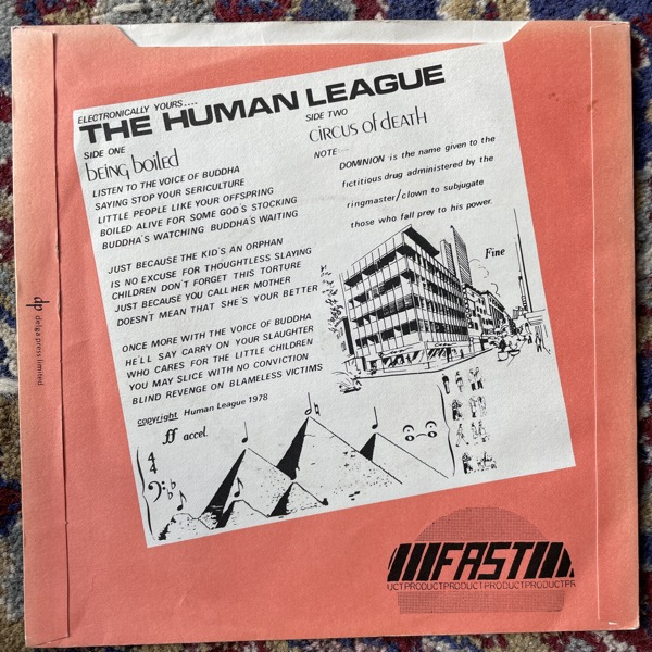 """HUMAN LEAGUE, the Being Boiled (Fast Product - UK original) (VG+/VG) 7"""""""