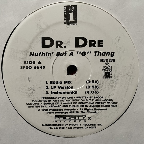 """DR. DRE Nuthin' But A 'G' Thang (Priority - USA reissue) (VG) 12"""""""