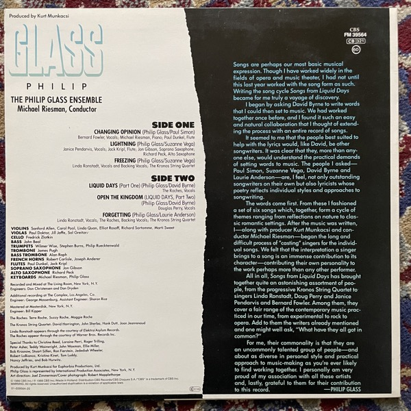 PHILIP GLASS Songs From Liquid Days (CBS - Europe original) (VG+/NM) LP